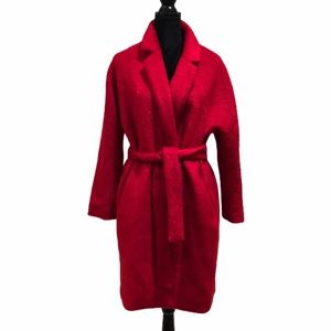 NWT Miss Yui fuzzy wrap red belted coat size large